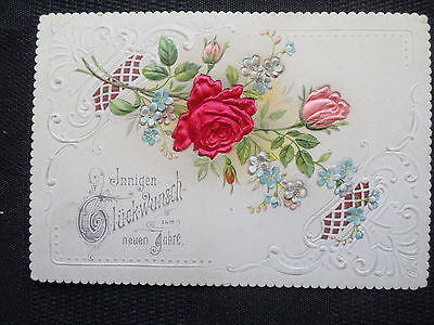 German NEW YEAR Greeting Card - Beautiful, Fancy, Roses, Excellent 1800s