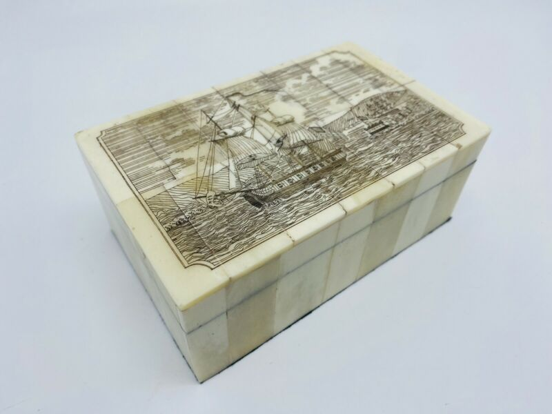 Antique Style Folk Art Sail Ship Scrimshaw Etched Bone Wood Trinket Dresser Box