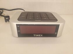 Timex Simple Set Alarm Clock with LED Display Model T123S Silver Tested/Works