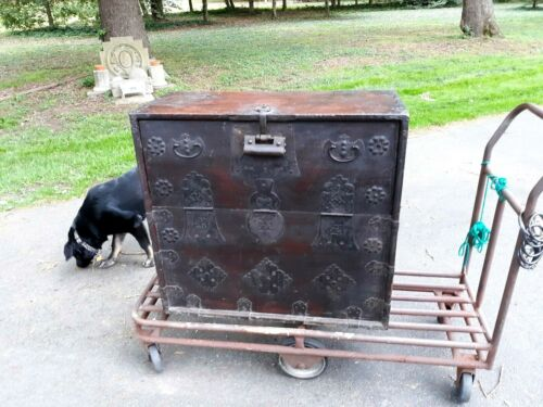 Antique Asian Korean Iron Mounted Chest with Lock