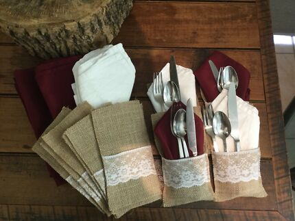 Country cutlery holder  servettes/ napkins to hire