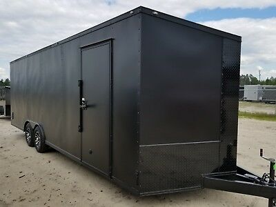 Enclosed Cargo Trailer 8.5x24 8.5 X 24 Ta Matte Blackout Car Hauler 20 22