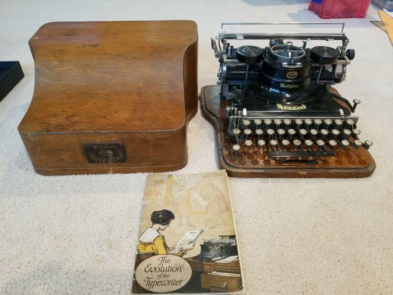 GREAT 1917 Hammond Multiplex Typewriter In Original Wood Case!!! NICE WITH BOOK