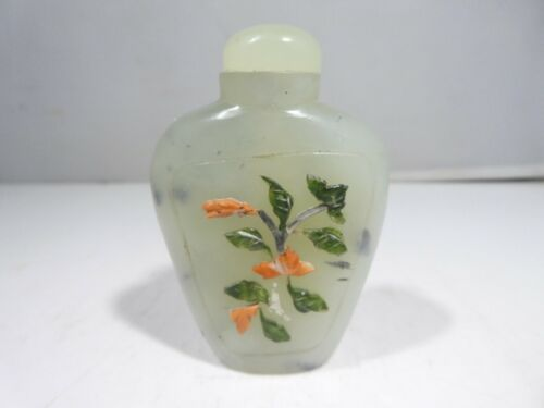 VINTAGE CHINESE SPINACH JADE SNUFF BOTTLE