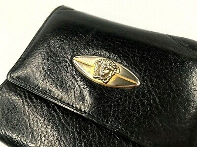 GIANNI VERSACE VINTAGE '90s GOLD OVAL MEDUSA LEATHER WALLET TRIFOLD PURSE ITALY
