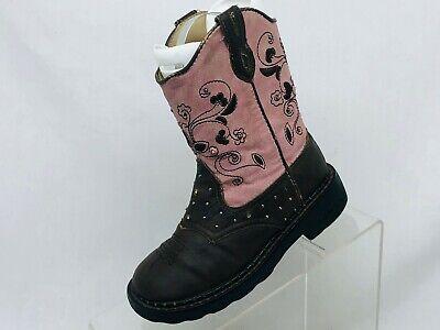 Roper Brand Brown Pink Floral Studded Light Up Cowboy Boots Girls Kids Size 11