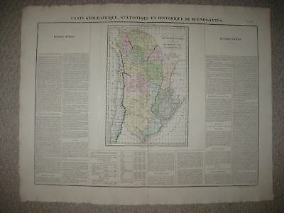 HUGE FOLIO SIZE ANTIQUE 1825 BUENOS AIRES ARGENTINA SOUTH AMERICA CARY & LEA MAP