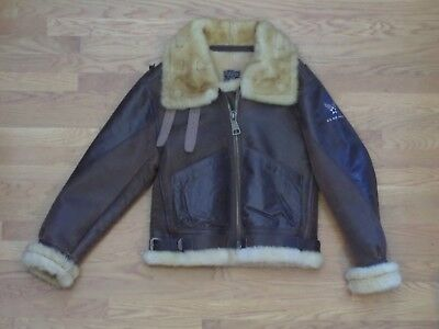 """B-3 """"BOMBER"""" LEATHER AND FLEECE JACKET.  HIGH QUALITY REPRODUCTION.  SIZE 40, used for sale  Richmond"""