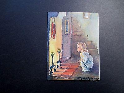 #K246- Erica Von Kager Brownie Xmas Greeting Card Sweet Girl Checking Fireplace