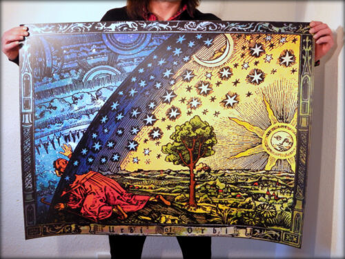 FLAMMARION+ENGRAVING+1888+Psychedelic+Flat+Earth+Poster+Print+of+Firmament+Dome