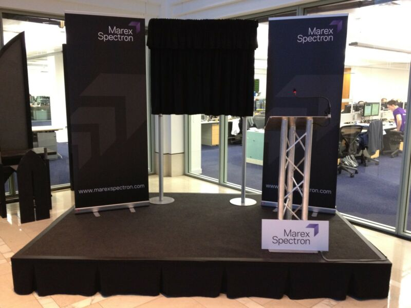 An example of a portable stage for presentations and promotions