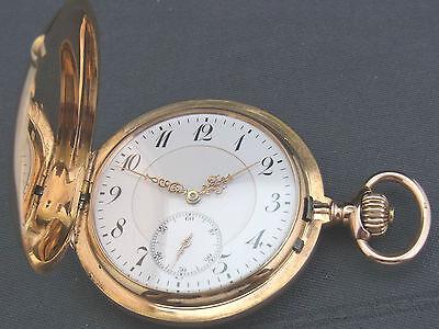 alte Sprungdeckel Taschenuhr 585/- Gold 3 Deckel Union Glashütte