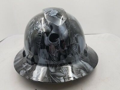 Full Brim Hard Hat Custom Hydro Dipped New Paradise Lost Skulls Gunmetal New