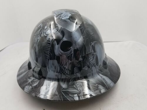 FULL BRIM Hard Hat custom hydro dipped , NEW PARADISE LOST SKULLS GUNMETAL NEW