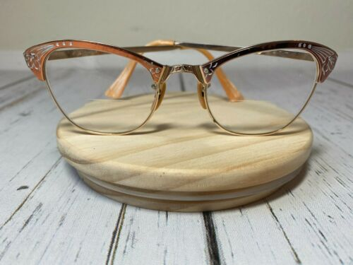 Vintage Imperial Cat Eye Glasses Authentic Etched Aluminum Gold Bakelite Rx