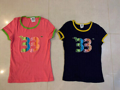 Lots Of 2 Lacoste Women Cotton Crew neck T Shirts Top Size 38 / Small