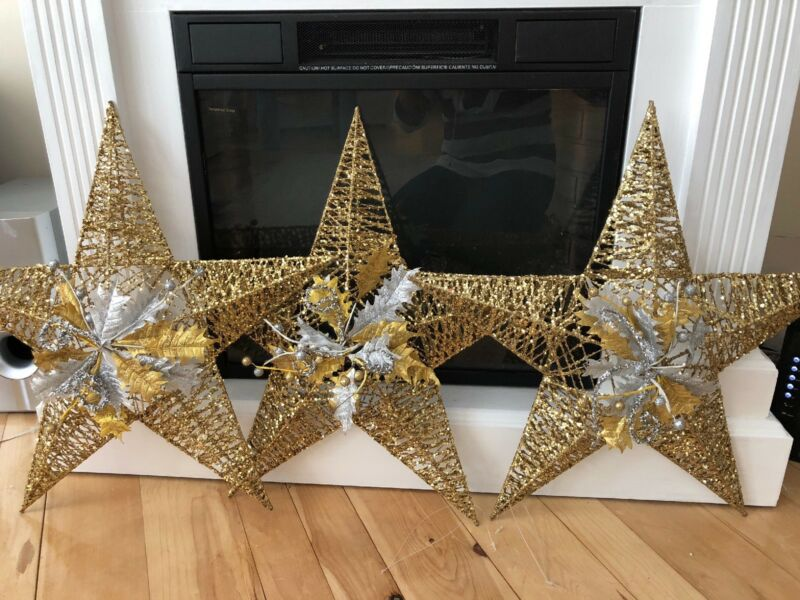 "Christmas STARS Glitter 23"" Gold 5-Pointed Decoration Hanging 3D Lot Of 3"