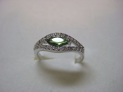 Ladies Ring with 3.25ctw Created Green & white Sapphire in 925 Sterling - Created Green Sapphire Ring