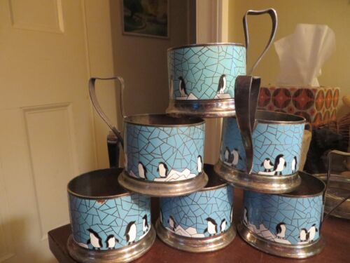6 old vintage tea cup holder enamel metal silverplate penguin USSR Russia