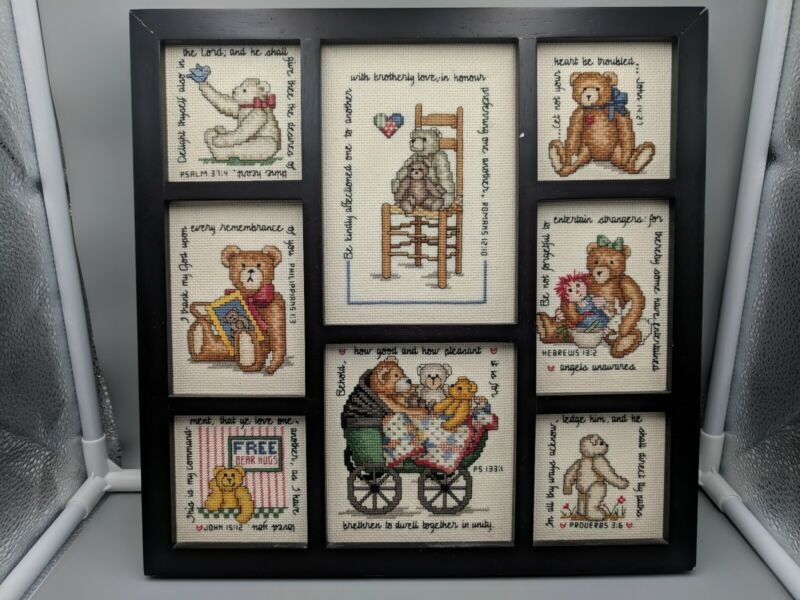 Framed Completed Counted Cross Stitch Art Teddy Bears and Bible Verses