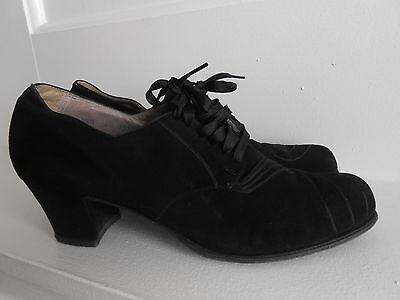 Vintage 1930's 40's  Black Suede Leather Lace Up Heels Sz 8 1/2 A