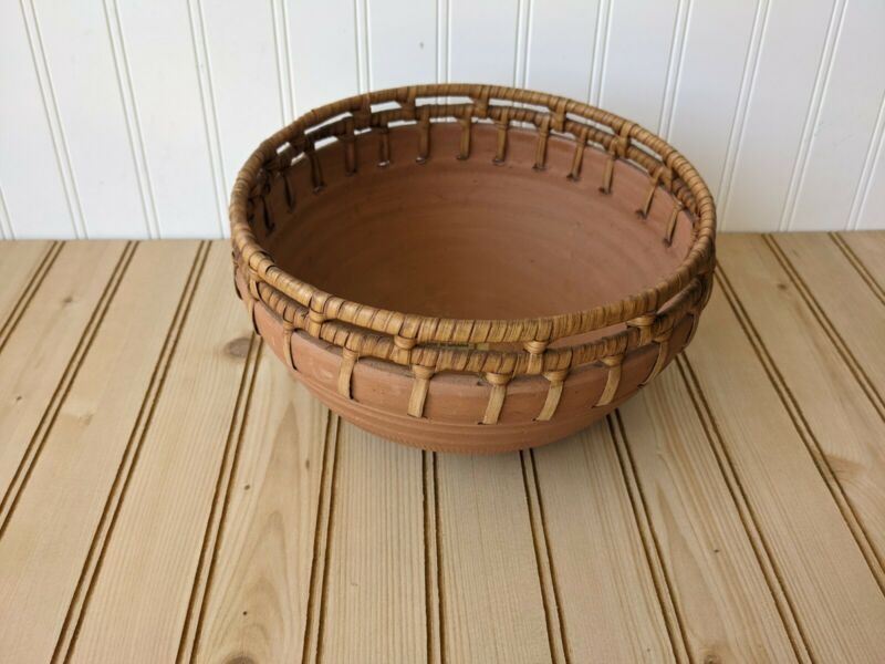 African Pottery Clay and Basket Weave  Bowl Pot Handmade Ceramics Ghana