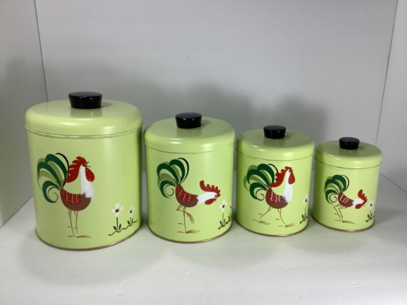 Vintage 4 Piece Handpainted Ransburg Rooster Canister Set Rare Light Green