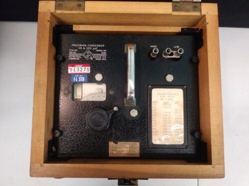 Vintage General Radio Co. Precision Condenser 722-DQ in Wood Case