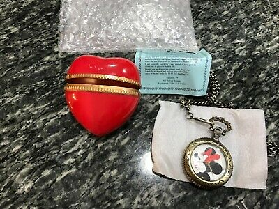 Disney Valdawn Minnie Mouse Ltd Edition Pocket Watch on Chain in Red Heart