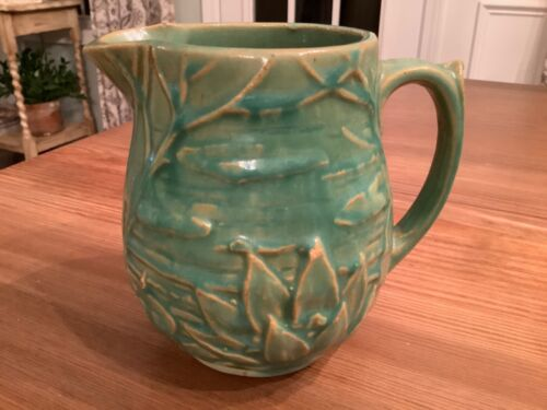 "Vintage Pottery McCoy Small Pitcher 5"" green Water Lily Lotus 124 Antique"