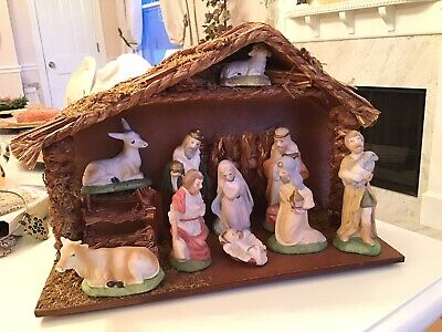 Vtg Taiwan Sticker Nativity Porcelain Set With Stable 10 Pc christmas decor