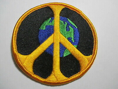 Planet Earth & Peace Sign Vintage Patch Embroidered NOS 3 x 3 INCHES