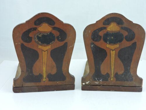 Vintage Primitive Handmade Homemade Wooden Bookends Book Ends Arts & Crafts # 1