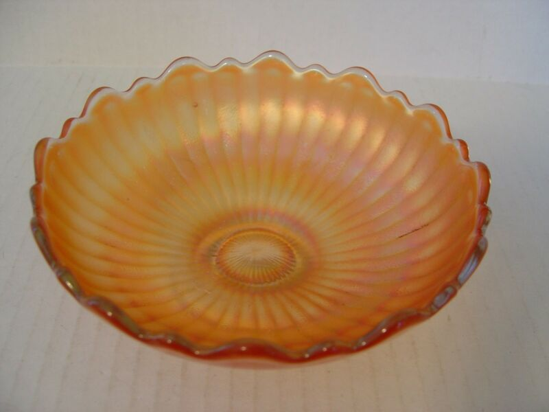 VINTAGE MARIGOLD RIBBED PATTERN SCALLOPED EDGE CARNIVAL GLASS SMALL BOWL