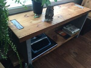 Concrete and wood plant shelf/bench