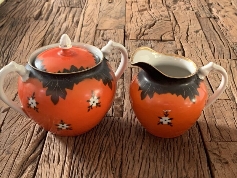 Russian Porcelain Hand Painted Sugar Bowl & Creamer
