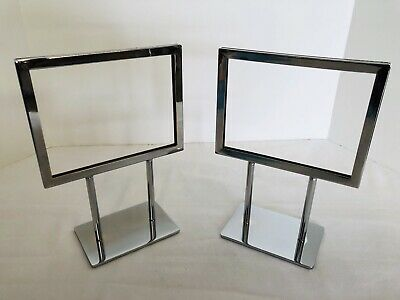 New Retail Double Sided Chrome Display Sign Holder 5 X 7 Table Top Lot Of Two