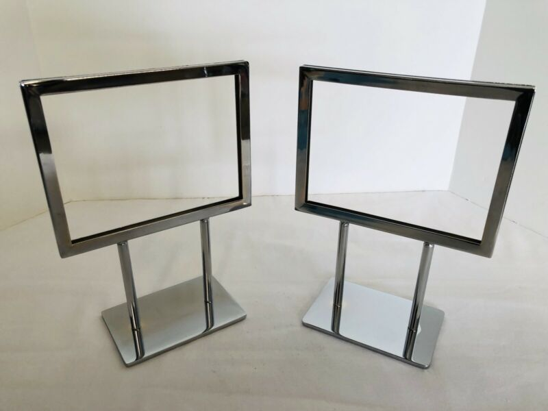 """TABLE TOP  DISPLAY SIGN HOLDER DOUBLE SIDED CHROME METAL   5½"""" x 7""""  LOT OF TWO"""