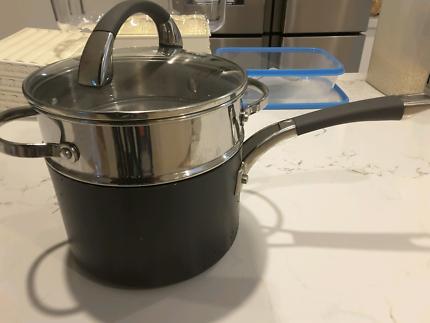 Analon 18 cm /2.8 litre saucepan, steamer and lid