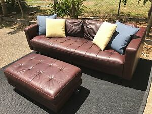 3 seater leather sofa- must go! Milton Brisbane North West Preview