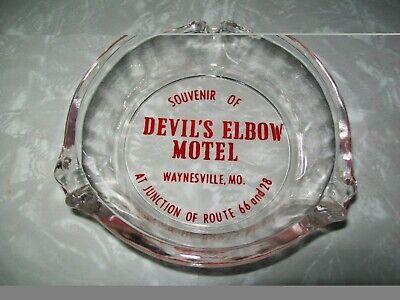 Vintage Devils Elbow Hotel Glass Ashtray.Route 66.Advertising.Souvenir.Missouri.
