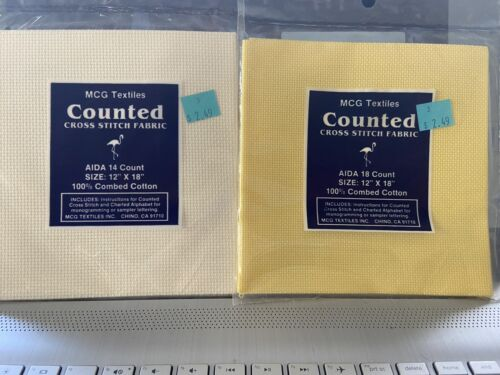LOT Of 2 MCG Textiles 14 Count cream 18 Count yellow 12 x18 Cotton Fabric - $1.00