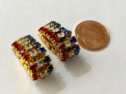 Vintage Rhinestone Earrings Red White & Blue Gems Gold Tone Clip On Style 3 Row