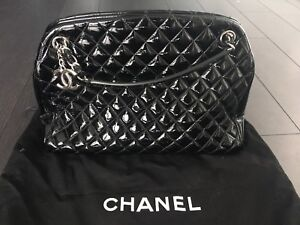 Chanel Just Mademoiselle Bowling Bag Large Black Patent Leather