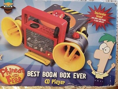 DISNEY Phineas And Ferb Best Boom Box Ever, CD Player, New In Box -