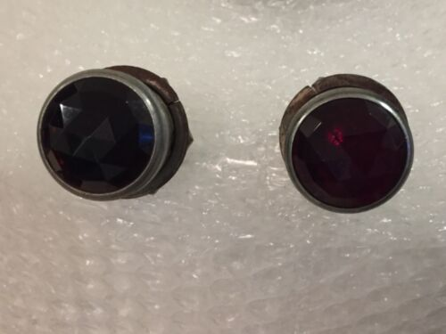 Two Vintage DIALCO N.Y. 75W 125V Indicator Lights - Red Beveled Jewel Covers