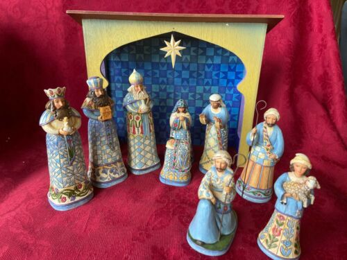 Jim Shore 10-piece Mini Blue Nativity Set (2008)  #4011886