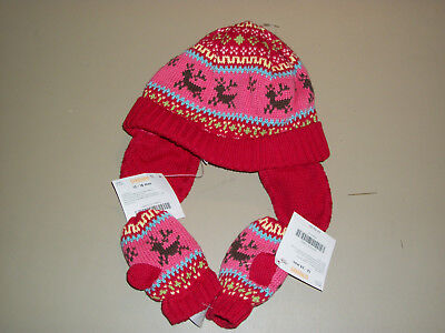 NWT Gymboree~~Colorful Village~~Knit Deer Hat and Mittens  Size 12-18m