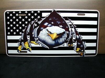 AMERICAN FLAG  METAL LICENSE PLATE BLACK AND WHITE FORMAT WITH AMERICAN EAGLE for sale  Tampa