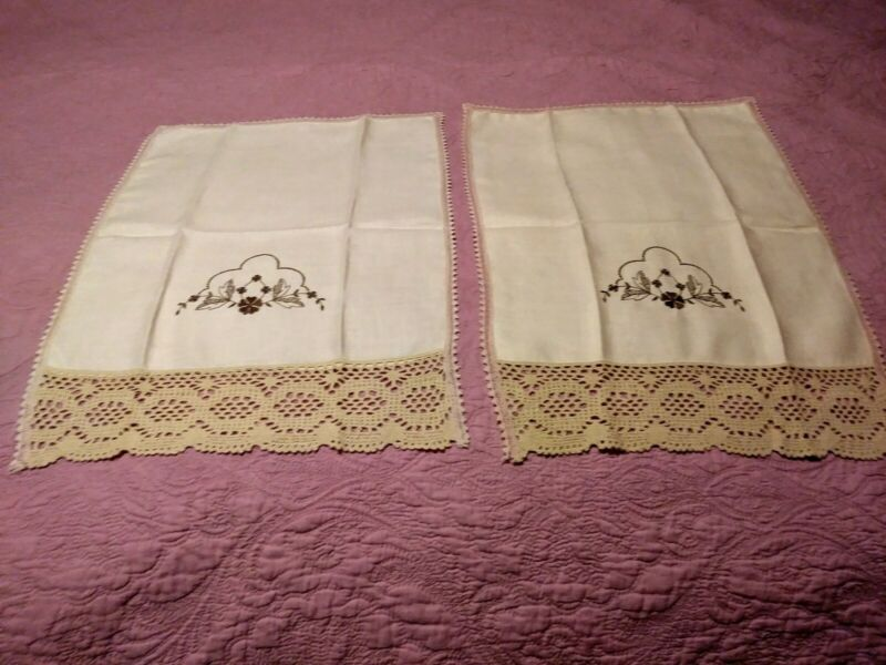 """Set of 2 Beautiful Embroiderd & Lace Beige Linen Hand Towels 21"""" x 15"""""""